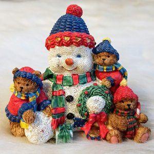 Resin Snowman and Bear Cubs Christmas Figurine